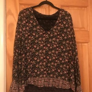 Lucky Brand black floral top